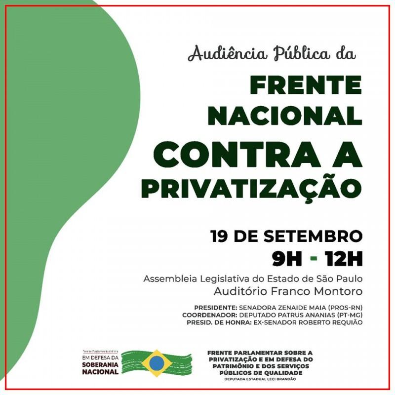 São Paulo lança Frente contra privatização e em defesa da Soberania Nacional