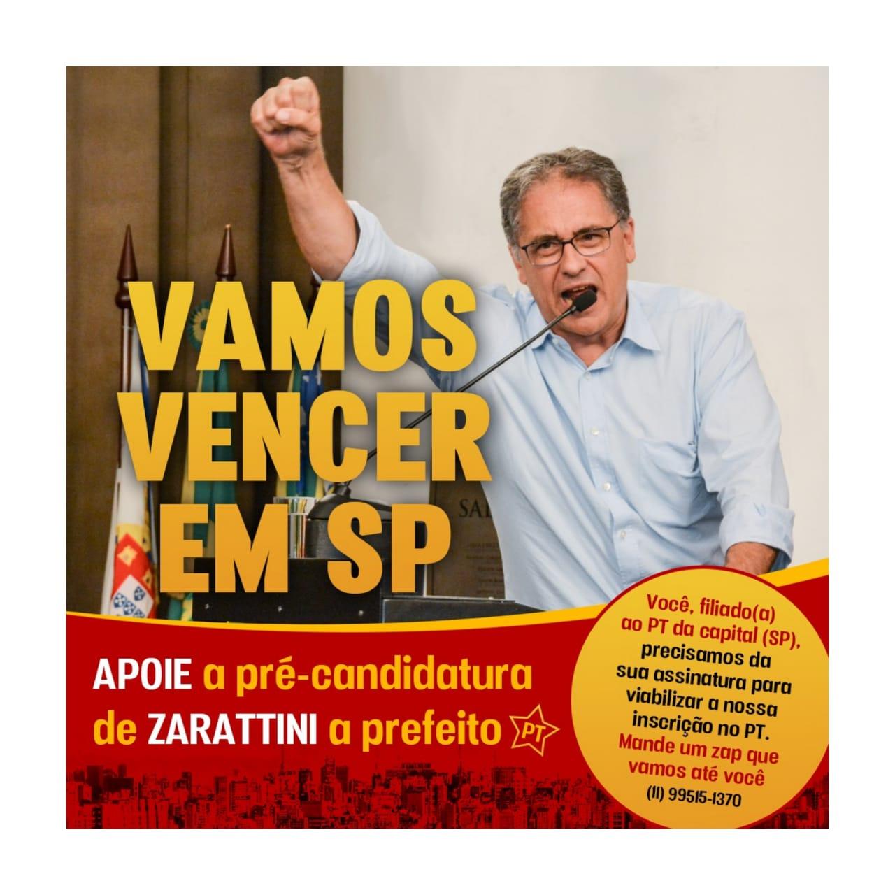 APOIE a pré-candidatura de Zarattini a prefeito de São Paulo pelo PT