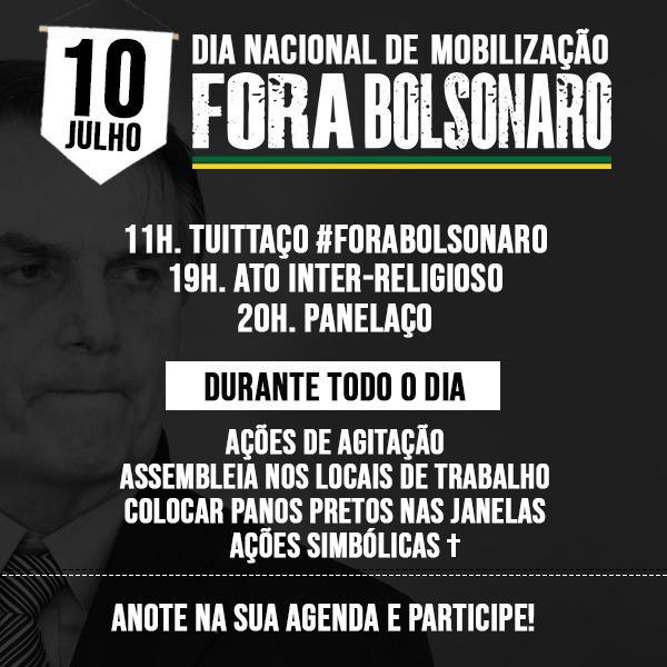 PT reforça movimento 'Fora Bolsonaro', em dia de protesto